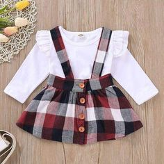 Plaid Ruffle Long Sleeves Top,Overall Skirt 2 Pcs Set – TYChome baby girls, baby boy, baby girl fash Baby Girl Fashion, Toddler Fashion, Kids Fashion, Fashion Clothes, Baby Outfits Newborn, Baby Boy Outfits, Kids Outfits, Toddler Girl Christmas Outfits, Dress Outfits