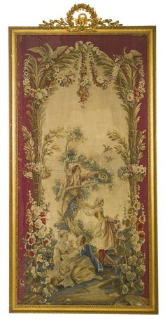 """A pair of Beauvais tapestry panels from the series """"Pastorales Palmiers,"""" after François Boucher and Jean Baptiste Huet. late 18th century depicting the """"Cherry Pickers"""" and the """"Bird Catchers,"""" each set within later gilt-gesso frames. height with frame 113 in.; width with frame 54 1/2 in."""