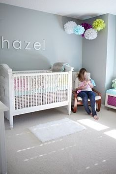 Monotone is nice..take out the green...replace with pink!  gray walls, white crib, stripes, and turquoise.