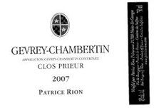 "GrapePip Auction: 02 Gevrey-Chambertin Clos Prieur, Patrice Rion. Lot live in November 2015. Opening at £400 in bond a dozen. ""Very ripe, in fact extremely ripe but not surmature black cherry fruit aromas lead to fruit driven flavors with pungent earth under tones. This is quite sappy with firmly rustic tannins yet the finish is sweet, vibrant and racy. A very interesting villages with plenty of style."" Burghound"
