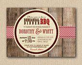 BBQ Rehearsal Dinner Invitations - Rustic BBQ Mixed Type Printable Invitations