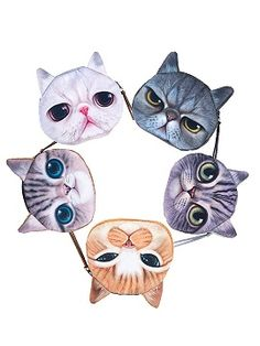 Shop Cute Cat Print Coin Purse 5 Pack from choies.com .Free shipping…