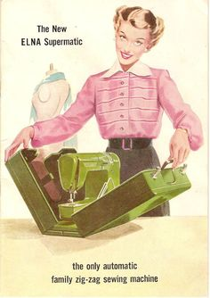 sewing machines, vintage illustrations, vintag elna, retro, sew room