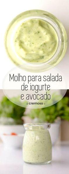 Receita deliciosa de molho para temperar a sua salada! Feito em menos de 10 minutos, este molho leva iogurte e avocado, combinação cremosa que irá envolver sua salada deixando ela fresca e saborosa!