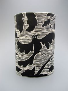 Black underglaze scraffito with the Bird and branch pattern by Oxide Pottery