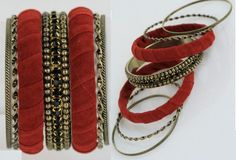Beauty And Beads- Antique gold bangle set composed of 2-wrapped faux suede bangles, 2-ridged, 2-twisted, and 1-with metallic beads and rhinestones.    Price: $18.00