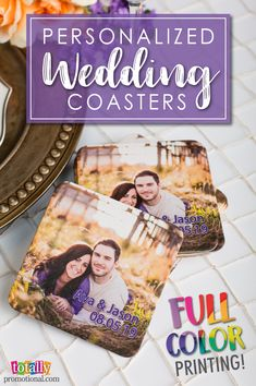Give customizable wedding favor coasters with vibrant colors that pop! Full color images or photos will set your wedding coasters apart from all others.  Keep your tables and linens safe while serving up your favorite drinks!  Use coupon code PINNER10 and receive 10% off your coaster order! Sale applies to piece price only, not valid with other coupon codes and expires April 4, 2017!