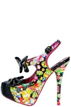IRON-FIST-US-9-Over-The-Rainbow-BLACK-Platform-Multi-pump-heels-bow-star-kawaii