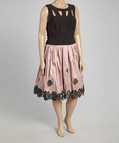 This Black & Mauve Lace-Cutout Fit & Flare Dress - Plus by SL Fashions is perfect! #zulilyfinds
