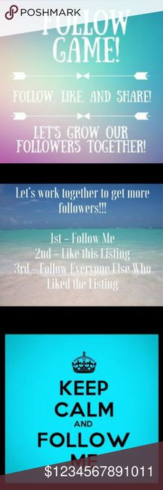 My first follow game! Let's help each other spread the posh love.  Tag your pffs.  Don't forget to come back to check for new followers🍾🍸💕💖💜❤ Free People Tops