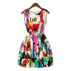 c487d2b7c3 Trendy Style Scoop Collar Sleeveless Abstract Print Women s Sundress Lady  Like