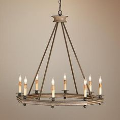 """Currey and Company Bonfire 32"""" Wide Rust Wood Chandelier"""