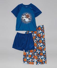 Look what I found on #zulily! Candlesticks Blue Sports Ball Pajama Set - Boys by Candlesticks #zulilyfinds