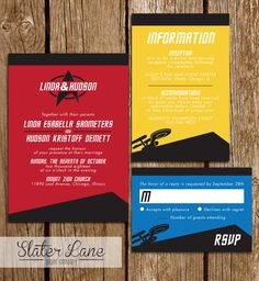 Star Trek Wedding Invitation Starship by SlaterLanePaperCo Star Trek Party, Star Trek Theme, Star Trek Logo, Star Trek Wedding, Spa Birthday Parties, Wedding Cards, Wedding Decor, Wedding Stuff, Wedding Ideas