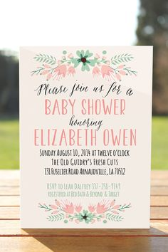 Unique baby shower invitation Floral baby by OnlyPrintableArts