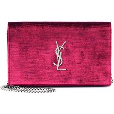Saint Laurent Velvet Chain Wallet (7,130 CNY) ❤ liked on Polyvore featuring bags, wallets, pink, yves saint laurent, yves saint laurent bags, pink wallet, pink bag and velvet bag