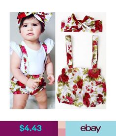 556fce664bf New Fashion Adorable Kids Baby Girl Floral Shorts Pants Headband Summer  Outfits Set Clothes