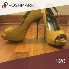 Shoes Honey mustard colored high heels. Only worn twice. Shoes Heels