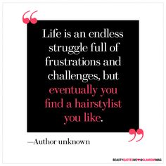 Life is an endless struggle full of frustrations and challenges, but eventually you find a hairstylist you like.