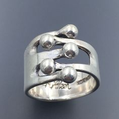 VINTAGE ANA GRETA EKER NORWAY STERLING SILVER MODERNIST JESTER RING SIZE 7.25 #AnaGretaEker #Band Vintage Silver Jewelry, Sterling Silver Jewelry, Jewelry Collection, Topaz, Jewelery, Gold Rings, Pure Products, Diamond, Metal
