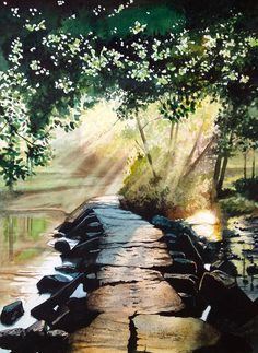 Serie sur les contrejours. Athmosphère mystérieuse, lumières. #watercolor paintings #aquarelle #watercolor landscape