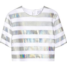 Jonathan Saunders Bibbi holographic striped crepe top ($200) ❤ liked on Polyvore featuring tops, shirts, crop tops, t-shirts, silver, striped top, crop top, white stripes shirt, white striped shirt and loose fit crop top