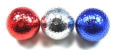 Assorted red, white, and blue metallic golf balls. Patriotic 0r 4th of July theme idea. Bling! by Navika