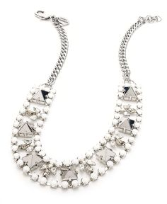 Juicy Couture Necklace, Silver-Tone Rhinestone Stud Chain Frontal Necklace - Impulse Jewelry - Jewelry & Watches - Macy's