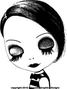 big eye wish blythe doll face clip art png clipart digi stamp digital stamp black and white art gothic dolly Digital Image Download graphics