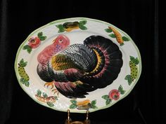 Vintage Hand Painted Embossed Turkey Platter Made in Italy