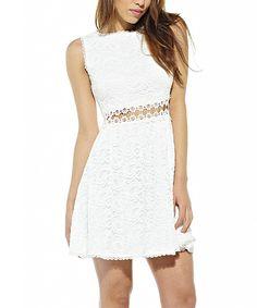 AX Paris White Lace Crochet Skater Dress  a23692b8c1ce