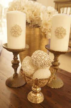 Vintage Inspired Candle - Bling Candle - Sofreh Aghd Candle | by prettypleasedesign $25.00. Sofreh Aghd Styling + Design by Pretty Please.