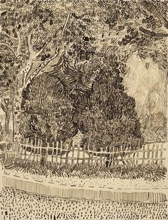 Park with Fence Arles, September 1888 by Vincent van Gogh on Curiator, the world's biggest collaborative art collection. Vincent Van Gogh, Van Gogh Art, Art Van, Landscape Sketch, Landscape Drawings, Abstract Landscape, Rembrandt, Desenhos Van Gogh, Theo Van Gogh