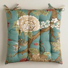 One of my favorite discoveries at WorldMarket.com: Teal Lucinda Floral Chair Cushion