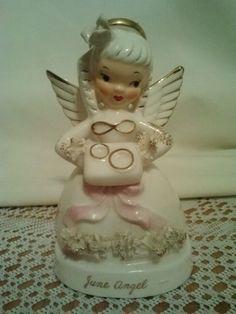 NAPCO CERAMIC VINTAGE JUNE BIRTHDAY ANGEL FIGURINE JAPAN A1366 STICKER   **Last Chance to BID on eBay! **LOW PRICE! **Gorgeous NAPCO JUNE ANGEL! **Check out Details! **BID on eBay!