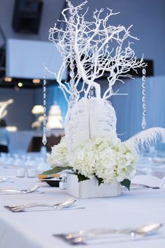 White Manzanita tree centerpiece for wedding done by It's Your Party