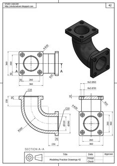Flanges Autocad Isometric Drawing, Isometric Drawing Exercises, Mechanical Engineering Design, Mechanical Design, Engineering Works, 3d Drawing Techniques, Drawing Skills, Sheet Metal Drawing, Orthographic Drawing