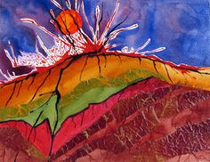 For the volcano, we used scraps of construction paper and tissue paper. These were collaged and glued to the paper. The lava was made with liquid water colors. We used a straw to blow the liquid watercolors. This made the liquid watercolors spread in random directions, which looked more like real lava. The sky was then painted with blue and purple watercolor paints.