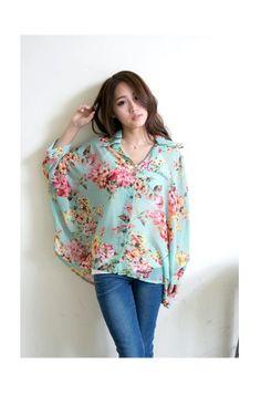 (TOLLS0849) Mint Floral Loose Fit Chiffon Shirt, iAnyWear