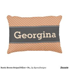 Rustic Brown-Striped Pillow + Personalized Name