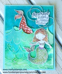 This week's Paper Craft Crew Challenge is a color challenge using the following colors: I received this stamp set in my Fun Stampers Journey July 2017 Bloom Box Kit. I fell in love with these adorable mermaids th…