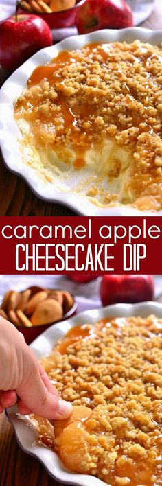 This Baked Caramel Apple Cheesecake Dip is ooey, gooey, and perfect for fall! Enjoy it with graham crackers, vanilla wafers, or any of your favorite dippers. Sure to be a new family favorite!