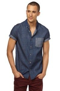 ss alfie printed shirt - batik indigo chambray ($25) [casual bd]