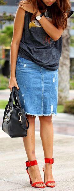 Zara Blue Ripped Denim Pencil Skirt by Brunette Braid