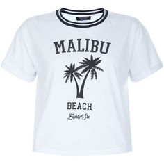 New Look Teens White Malibu Beach Print T-Shirt (185 UYU) ❤ liked on Polyvore featuring tops, t-shirts, shirts, camisetas, graphic tees, white pattern, tee-shirt, white tees, print t shirts and graphic design t shirts