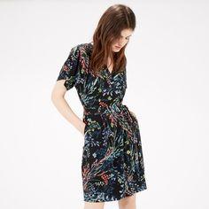 Warehouse, Meadow Floral Wrap Dress Black Pattern 1