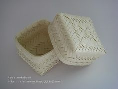 エコクラフト:網代編みの箱:お弁当箱