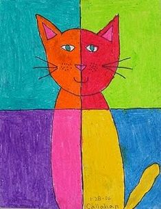 Easy Abstract Art Cat · Art Projects for Kids. One of my favorite abstract art ideas for beginners is to divide a page into quarters, and fill in with opposing colors. An instant cool look! Easy Abstract Art, Abstract Oil, Abstract Portrait, Arte Pop, Art 2nd Grade, Grade 1, Club D'art, Art Picasso, Pablo Picasso