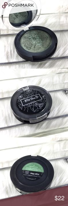 Kat Von D Rock n Roll Eyeshadow Duo King Cobra Now discontinued. Only swatched tested for color with sanitized brushes. All makeup authentic. Over 1k items sold! Save the most with bundles. I offer 25% OFF on bundles of 2 or more. No trades or holds. Serious offers only please remember PM charges fees when sending an offer over. Please Ask all questions before sale. Kat Von D Makeup Eyeshadow