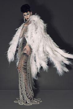 Violet Chachki . FLESH Magazine . New Fashion Editorial Photography - Alex Cordova Photographer Styling - JUKA Creative Direction - IWASBORNTOBECHEAP Crystal Dress - Manuel Díaz Brand